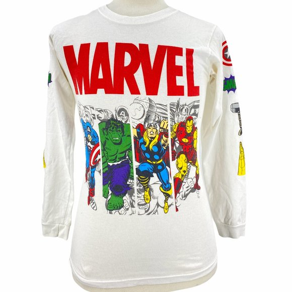 Marvel Super Heroes Mens Graphic T-Shirt White Cre